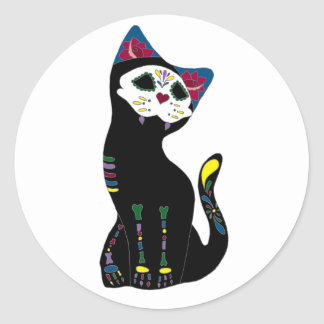 'Gato Muerto' Dia De Los Muertos Cat Round Sticker