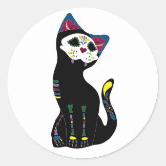 'Gato Muerto' Dia De Los Muertos Cat Round Stickers