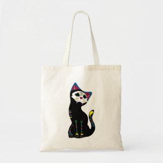 'Gato Muerto' Dia De Los Muertos Style Cat Tote Canvas Bag