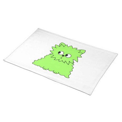 Gato mullido de la verde lima manteles