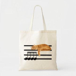 Gato musical del gatito del tabby bolsa tela barata
