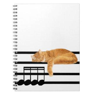 Gato musical del gatito del tabby libro de apuntes con espiral