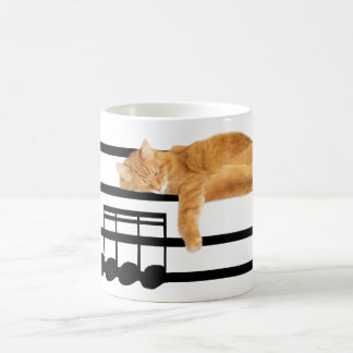 Gato musical del gatito del tabby taza de café