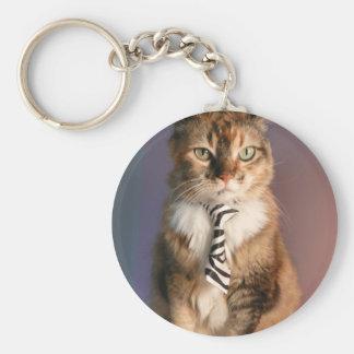 Gato nacional en un lazo del negocio llavero redondo tipo pin