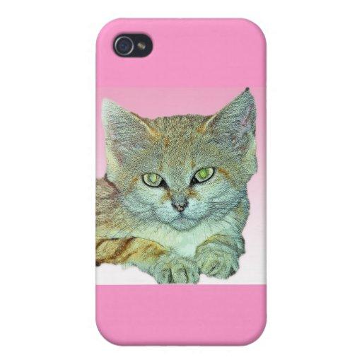 Gato nacional, fondo rosado iPhone 4/4S fundas