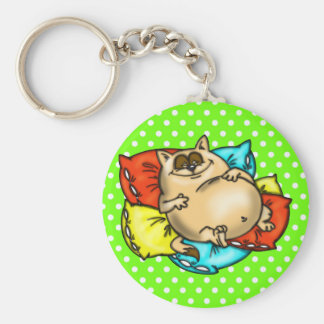 Gato Napping del dibujo animado Llavero Redondo Tipo Pin