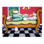 Gato Napping - las mujeres Naps con sus gatos blan Postales