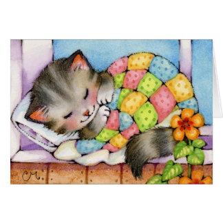 Gato Napping - tarjeta linda del gatito