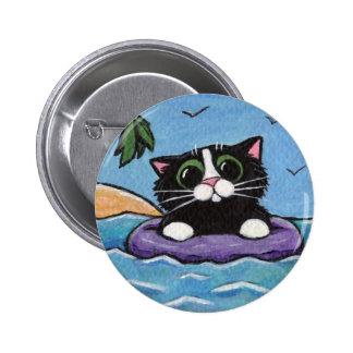 Gato naufragado - botón del arte del gato pin redondo de 2 pulgadas