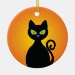 Gato negro adorno navideño redondo de cerámica