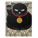 Gato negro afortunado cuaderno