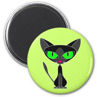 Gato negro afortunado imán redondo 5 cm