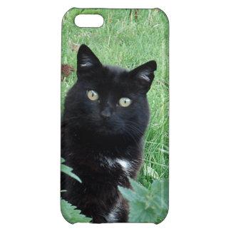 Gato negro afortunado lindo en el caso del iPhone