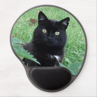 Gato negro afortunado lindo en el gel Mousepad Alfombrilla De Raton Con Gel
