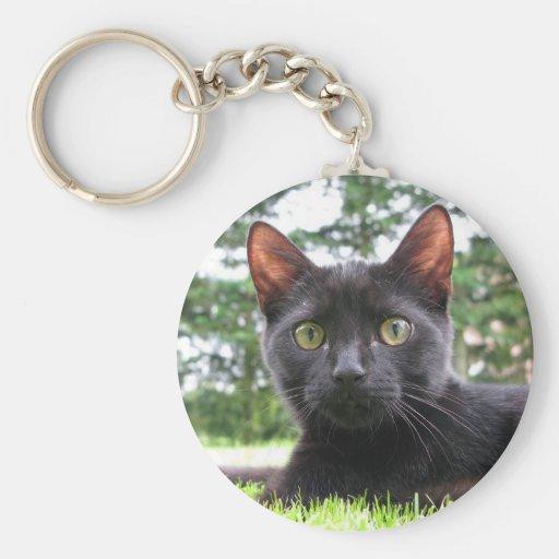 Gato negro afortunado llavero redondo tipo pin