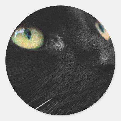 Gato negro afortunado pegatina redonda