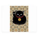 Gato negro afortunado postales