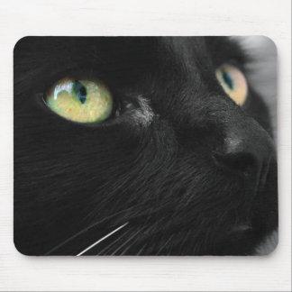 Gato negro afortunado tapetes de ratón
