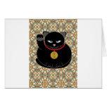 Gato negro afortunado tarjeta