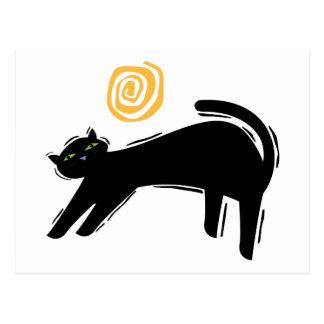 Gato negro afortunado tarjetas postales