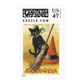Gato negro amistoso pasado de moda de Halloween Estampilla