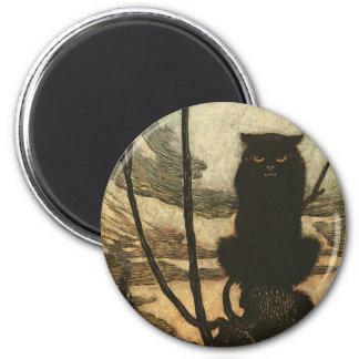 Gato negro asustadizo de Halloween Imán De Frigorífico