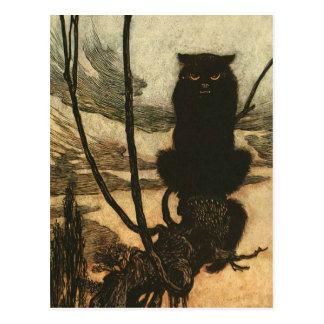 Gato negro asustadizo de Halloween Postales