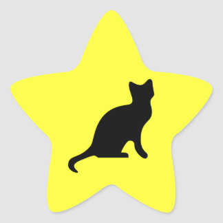 Gato negro - asustadizo fantasmagórico calcomania forma de estrella personalizada