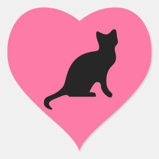 Gato negro - asustadizo fantasmagórico pegatina en forma de corazón