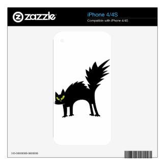 Gato negro asustado divertido calcomanías para el iPhone 4