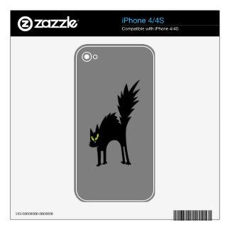 Gato negro asustado divertido calcomanías para el iPhone 4S