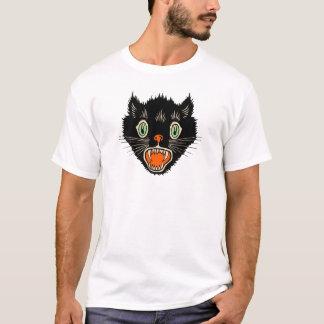 Gato negro asustado Halloween del vintage Playera