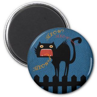 Gato negro aterrorizado el la noche de Halloween Imán De Frigorífico