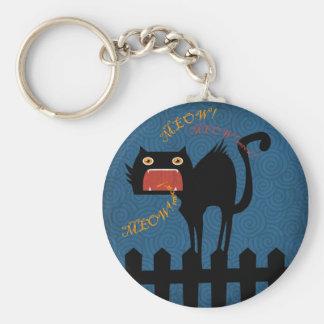 Gato negro aterrorizado el la noche de Halloween Llavero Redondo Tipo Pin