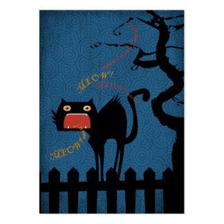 Gato negro aterrorizado el la noche de Halloween Tarjetas De Visita Grandes