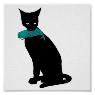 Gato negro, ballena azul posters
