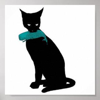 Gato negro, ballena azul póster