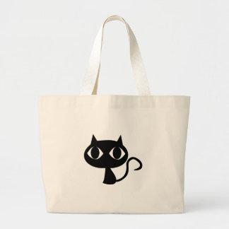 Gato negro bolsa de tela grande