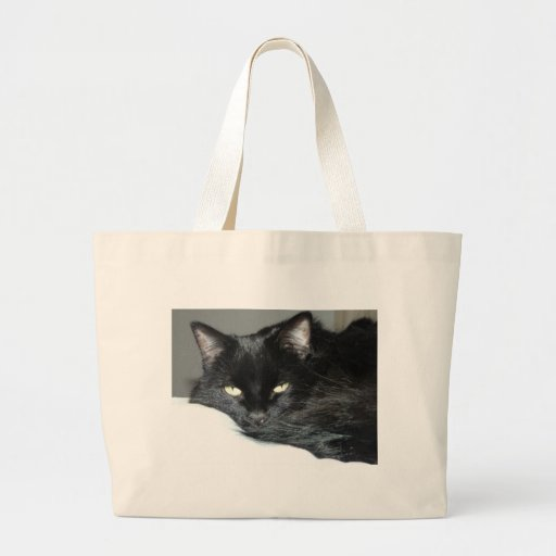 gato negro bolsa lienzo