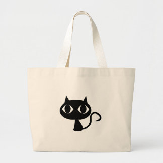 Gato negro bolsa tela grande