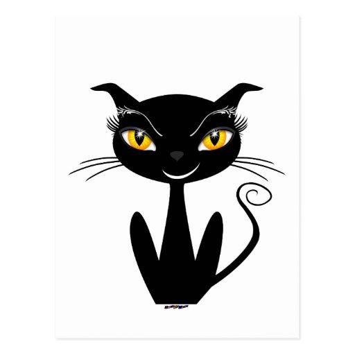 Gato negro caprichoso postal