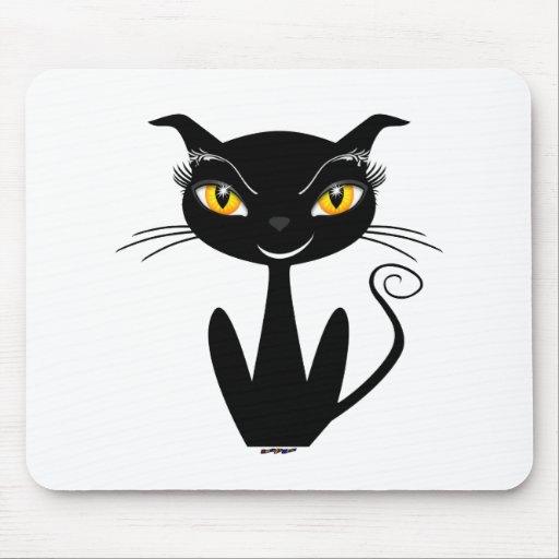 Gato negro caprichoso tapete de raton