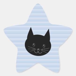 Gato negro con el fondo azul claro de la raya pegatinas forma de estrellaes personalizadas