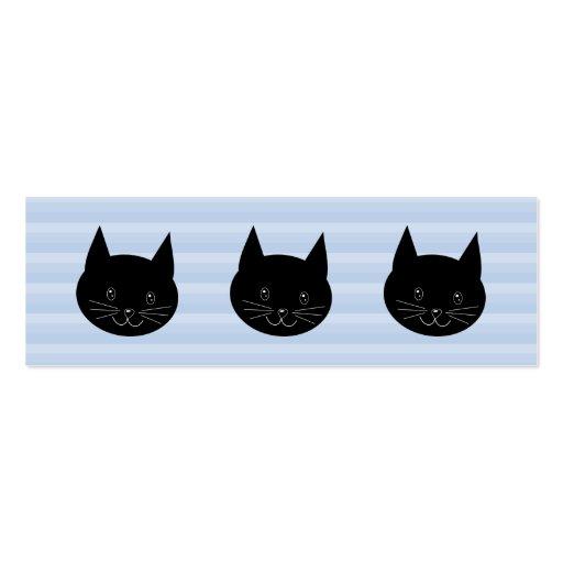 Gato negro, con el fondo azul claro de la raya tarjetas de visita mini