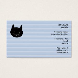 Gato negro, con el fondo azul claro de la raya tarjetas de visita