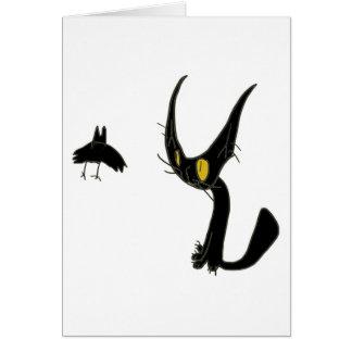 Gato negro con el palo negro felicitaciones