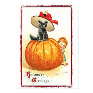 Gato negro con el vintage Halloween del gorra Tarjetas Postales