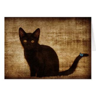 Gato negro con la mariposa Notecard Felicitación