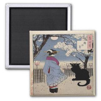 Gato negro con la señora japonesa imán cuadrado