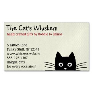Gato negro con las barbas largas tarjetas de visita magnéticas (paquete de 25)